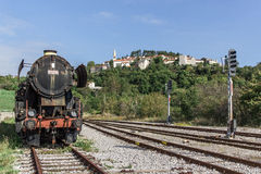 Ancient train with a steam locomotive Stock Photography