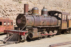 Ancient train wreck at mining town Pulacayo. Altiplano, Bolivia Royalty Free Stock Photo