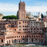 Ancient trajan`s market in roman forum in Rome Stock Image