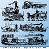 Ancient transport set. Various Vintage-style illustrations  - ancient transport set Royalty Free Stock Photo