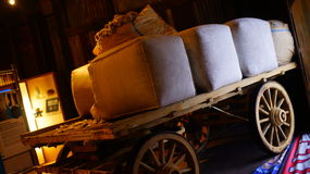 Ancient Transportation. Vintage Transportation Cart with supplies, good for background uses Stock Photos