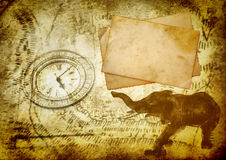 Ancient travel background. With postcards, clock and elephant royalty free stock photos
