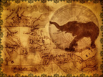 Ancient travel background. With postcards, clock and elephant royalty free stock image