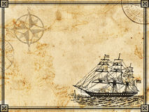Ancient travel background. With ship stock illustration