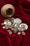 Ancient treasure of coins. Money, rusty, antique treasure of coins Royalty Free Stock Image