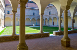 The ancient treasures of sacred art in Ravenna. Italy, Ravenna, the antique cloister of the Franciscan friars, near the Dante Alighieri tomb royalty free stock image
