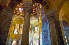 The ancient treasures of sacred art in Ravenna. Ravenna, Italy - March 1, 2012: The mosaics of the San Vitale basilica stock photo