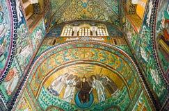 The ancient treasures of sacred art in Ravenna. Ravenna, Italy - March 1, 2012: The mosaics of the San Vitale basilica stock image