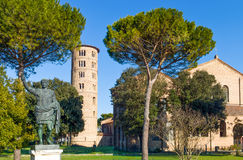 The ancient treasures of sacred art in Ravenna. Italy, Ravenna, the S.Apollinare in Classe basilica royalty free stock photography