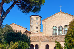 The ancient treasures of sacred art in Ravenna. Italy, Ravenna, the S.Apollinare in Classe basilica stock photos