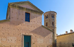 The ancient treasures of sacred art in Ravenna. Italy, Ravenna, the small S.Maria church next to the S.Vitale basilica stock photography