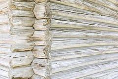Ancient tree beam wall closeup stock image