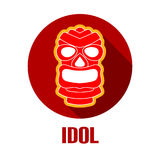 Ancient tribal mask icon or logo with long shadow style Stock Photos