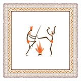 Ancient tribal people, ethnic ornament frame for Royalty Free Stock Photography