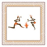 Ancient tribal people, ethnic ornament frame for stock illustration