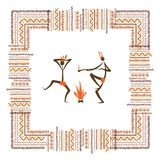 Ancient tribal people, ethnic ornament frame for Stock Photo