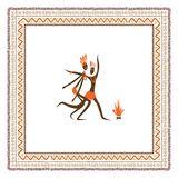 Ancient tribal people, ethnic ornament frame for vector illustration