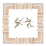 Ancient tribal people, ethnic ornament frame for Royalty Free Stock Photo