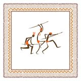 Ancient tribal people, ethnic ornament frame for Royalty Free Stock Images