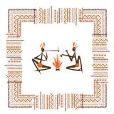 Ancient tribal people, ethnic ornament frame for Stock Image