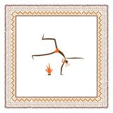 Ancient tribal people, ethnic ornament frame for Stock Images