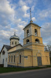 The ancient Trinity Church with the bell tower in Veliky Novgoro Stock Image