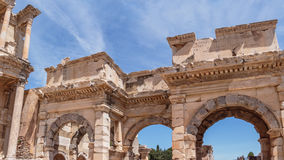 Ancient triple gate at Ephesus library Royalty Free Stock Image