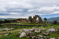 Ancient Troizina Ruins with dramatic sky, Greece Royalty Free Stock Image