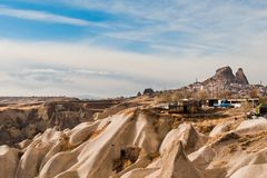 Ancient tuff caves Uchisar castle in Cappadocia Royalty Free Stock Image