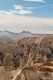 Ancient tuff stone caves landscape in Cappadocia. Ancient tuff stone caves landscape in Goreme Cappadocia Turkey Royalty Free Stock Photos