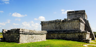 Ancient Tulum Mayan Ruins. Tulum Ruins in Mexico on the cliff above the beach Royalty Free Stock Photography