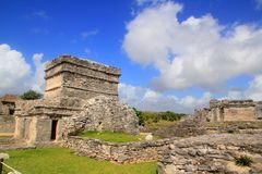 Ancient Tulum Mayan ruins Mexico Quintana Roo. Blue sky Royalty Free Stock Images