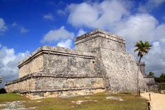 Ancient Tulum Mayan ruins Mexico Quintana Roo. Blue sky Stock Images