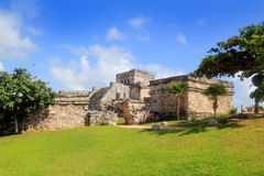 Ancient Tulum Mayan ruins Mexico Quintana Roo. Ancient Tulum Mayan temple ruins in Mexico Quintana Roo under blue sky Stock Photo