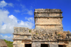 Ancient Tulum Mayan ruins Mexico Quintana Roo. Ancient Tulum Mayan temple ruins in Mexico Quintana Roo under blue sky Royalty Free Stock Photos