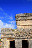 Ancient Tulum Mayan ruins Mexico Quintana Roo. Ancient Tulum Mayan temple ruins in Mexico Quintana Roo under blue sky Royalty Free Stock Photo