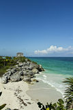 Ancient Tulum ruins. The historic ruins of El Castillo, based by a small beach on the Caribbean coast of Mexico Royalty Free Stock Photos