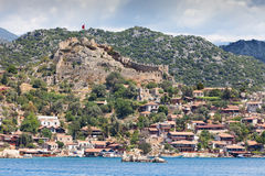 Ancient turkish castle on the hill Stock Photos