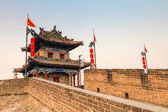 Ancient turret on xian city wall. Ancient turret closeup, xian city wall at dusk,China Stock Images