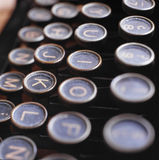 Ancient typewriter. Detail of the keys of an ancient typewriter Stock Photography