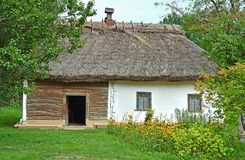 Ancient ukrainian hut with a straw roof Royalty Free Stock Images