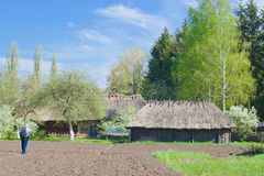 An ancient Ukranian farm in spring season. Royalty Free Stock Images