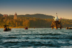 Ancient underwater temple in Thailand. Temple in the lake of Khao Laem Dam called Wat Saam Prasob, Amphoe Sangklaburi, Kanchanaburi province, Thailand. Wat Saam stock images