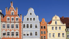Ancient unique colourful house in historic medieval old town. Landshut Stock Photo