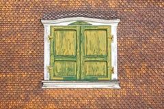 Ancient unique window. Munster, Switzerland Stock Image