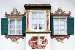 The ancient unique window. Oberammergau Royalty Free Stock Photo
