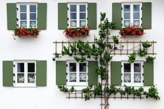 The ancient unique window. Oberammergau Stock Images
