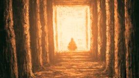 Ancient unknown temple of destiny. Orange color stock illustration