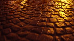 Ancient urban pavement close up 4K steadicam night shot. Urban pavement close up 4K steadicam night video stock video