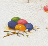 Ancient used easter paper serviette background Stock Photos